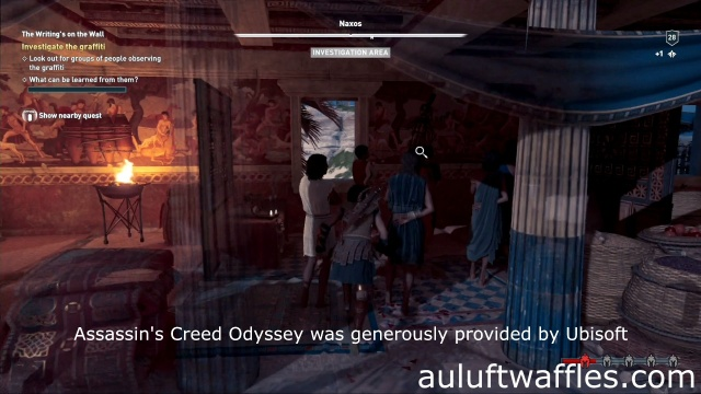 Investigate the graffiti on the long house in The Writing's on the Wall on Naxos in Assassin's Creed Odyssey