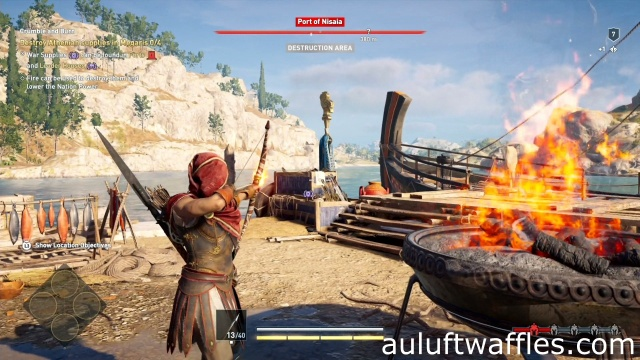 Use a fire arrow to destroy Athenian supplies in Megaris in Crumble and Burn in Port of Nisaia in Assassin's Creed Odyssey