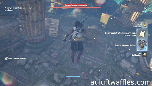 Find the chest in the middle of the temple to explore the coastline to discover the underwater temple in The Tribute in Boetia in Assassin's Creed Odyssey