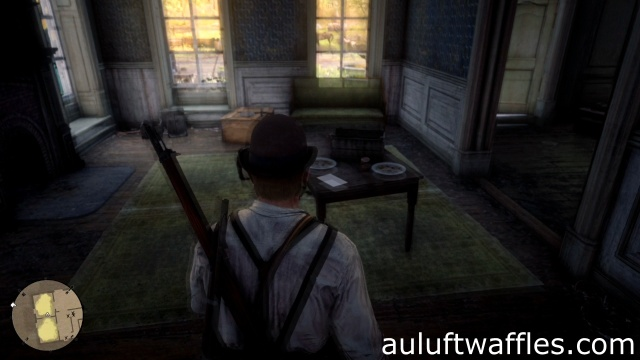 Inspect the letter on the table to search downstairs for clues to the gang's whereabouts in Dear Uncle Tacitus for Dutch in Red Dead Redemption 2
