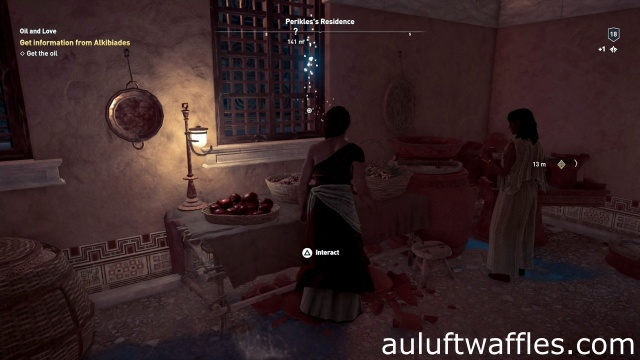 Pick up the oil flask from the kitchen to get the oil to get information from Alkibiades in Oil and Love in Assassin's Creed Odyssey