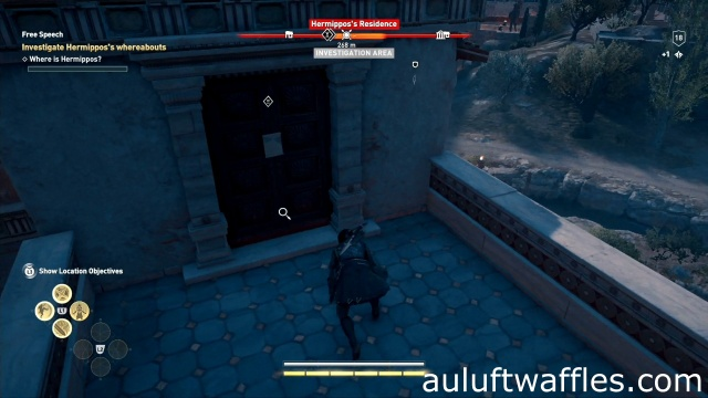 Investigate the letter on the door to investigate Hermippos's whereabouts in free speech in Attika in Assassin's Creed Odyssey