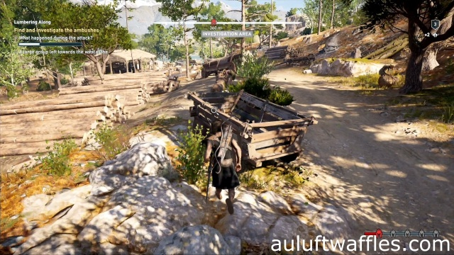 Investigate the cart to find and investigate the ambushes in Lumbering Along in Kephallonia in Assassin's Creed Odyssey