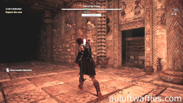 Walk past the blocked door to explore the cave in A Life's Dedication in Boetia in Assassin's Creed Odyssey