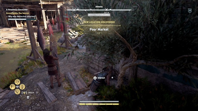 Investigate the body on the side of the house to investigate the house in a venomous encounter in Attika in Assassin's Creed Odyssey