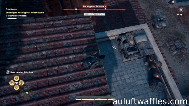 Investigate the money bag to investigate Hermippos's whereabouts in free speech in Attika in Assassin's Creed Odyssey