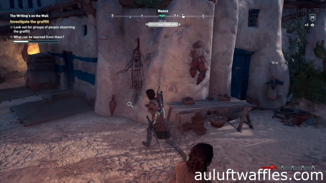 Investigate the graffiti on the wall in The Writing's on the Wall on Naxos in Assassin's Creed Odyssey