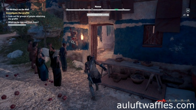 Investigate the graffiti on the house in The Writing's on the Wall on Naxos in Assassin's Creed Odyssey