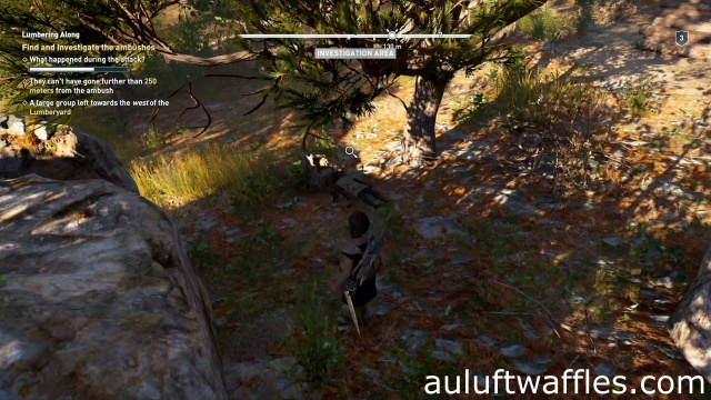 Investigate the body under the tree to find and investigate the ambushes in Lumbering Along in Kephallonia in Assassin's Creed Odyssey