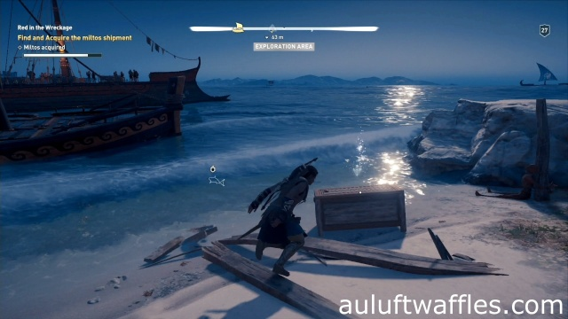 Open the chest on the beach to find and acquire the miltos shipment in Red in the Wreckage on Lestris in Assassin's Creed Odyssey