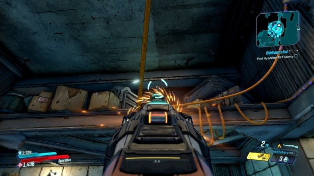 Shoot the lever to find a Hyperion RKT sentry in Childhood's End for Tannis in Konrad's Hold in Borderlands 3