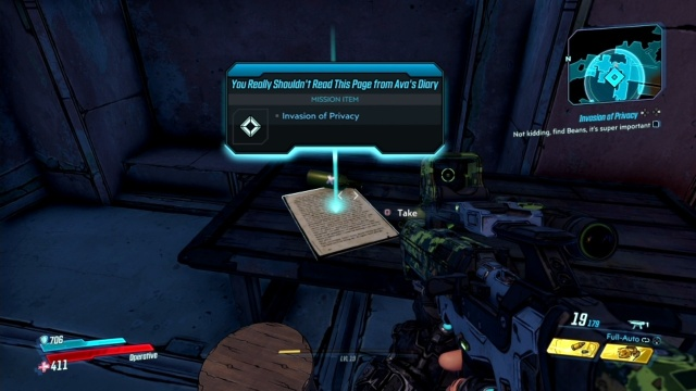 Pick up the diary page in the brewery to Not Kidding, Find Beans, It's Super Important in Holy Spirits for Ava in Athenas in Borderlands 3