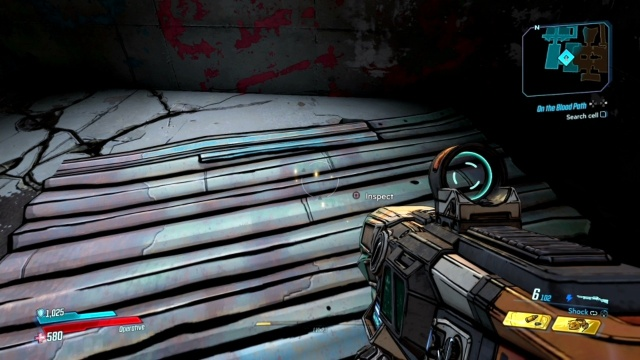 Inspect the iron sheet to search the Cell in On the Blood Path for Ramsden in The Anvil in Borderlands 3