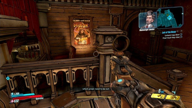 Match the stage to the most frequently displayed poster to unlock the trap door in Lair of the Harpy in Jakobs Estate in Borderlands 3