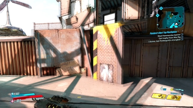 Climb up to the container to steel the Hammerclan Banner in Pandora's Next Top Mouthpiece for Ellie in Ascension Bluff in Borderlands 3