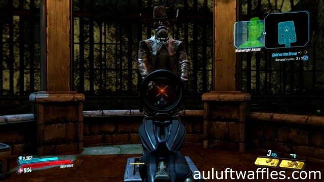 Shoot the statue in the groin to reveal ruins in Cold as the Grave in Blackbarrel Cellars in Borderlands 3