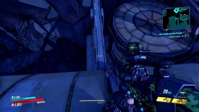 Go across the beam to collect coins in The Feeble and the Furious for Pappy in Devil's Razor in Borderlands 3