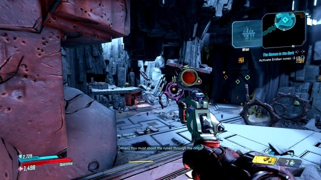 Shoot the rune through the rings to activate eridian runes in The Demon in the Dark for Wren in Konrad's Hold in Borderlands 3