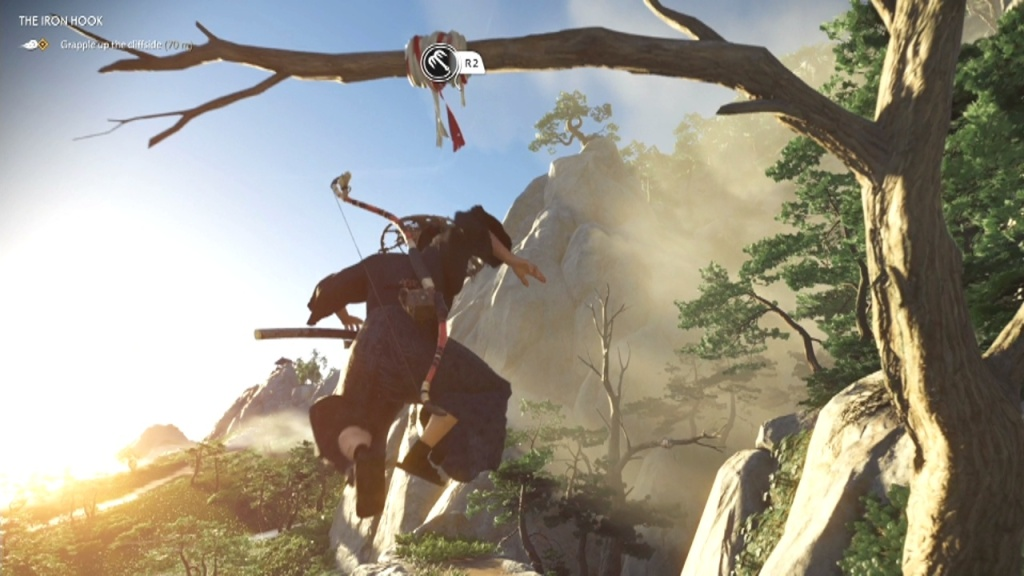 Jump first and then grapple to Grapple up the Cliffside The Iron Hook Ghost of Tsushima
