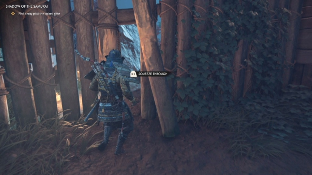 Squeeze through the wall to Find a Way pas the Locked Gate Shadow of the Samurai Ghost of Tsushima