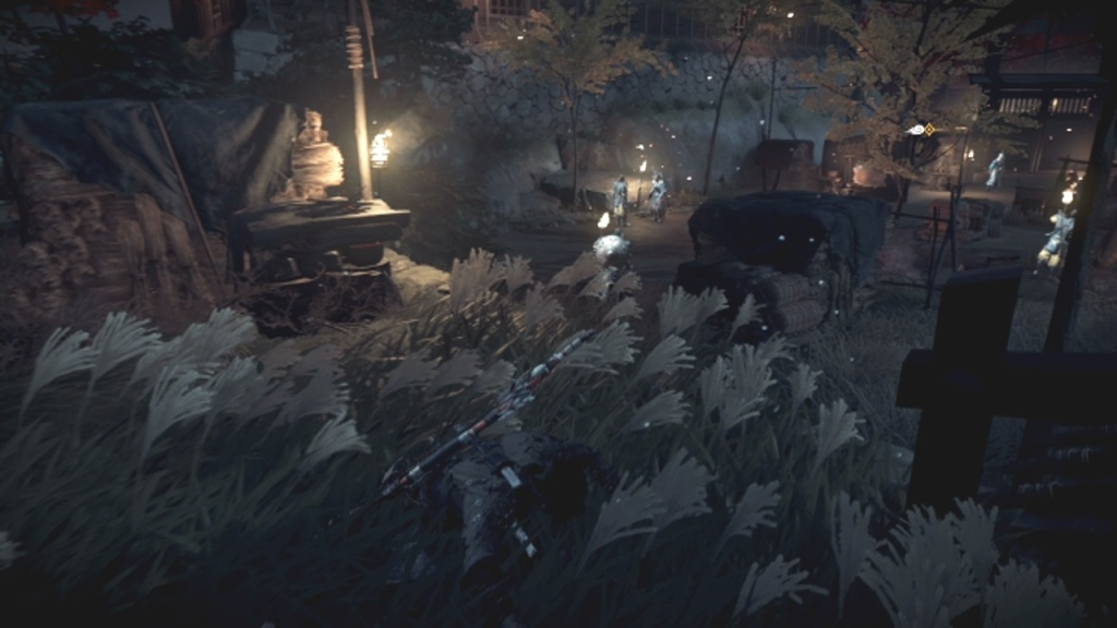 Wait for the guard to turn and leave to Search the Garden From the Darkness Ghost of Tsushima