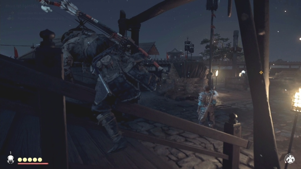 Climb over the railing to Poison the Mongols' Fermented Milk Without Rasing the Alarm From the Darkness Ghost of Tsushima