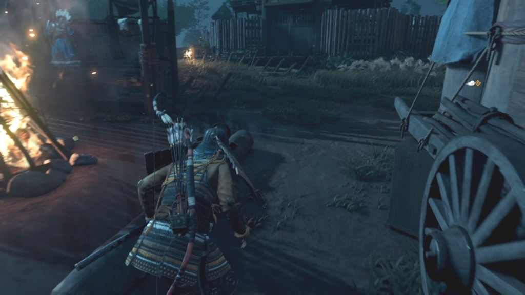 Go past the cart on the left side to Lead Yuna and Taka to the River Don't Alert Monguls The Walls of Yarikawa Ghost of Tsushima