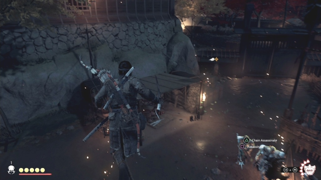 Go across the rope to Search the Garden From the Darkness Ghost of Tsushima