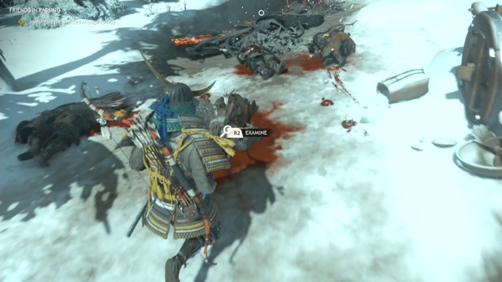 Investigate the body on the ground to Investigate the Wrecked Mongol Convoy Friends in Passing Ghost of Tsushima