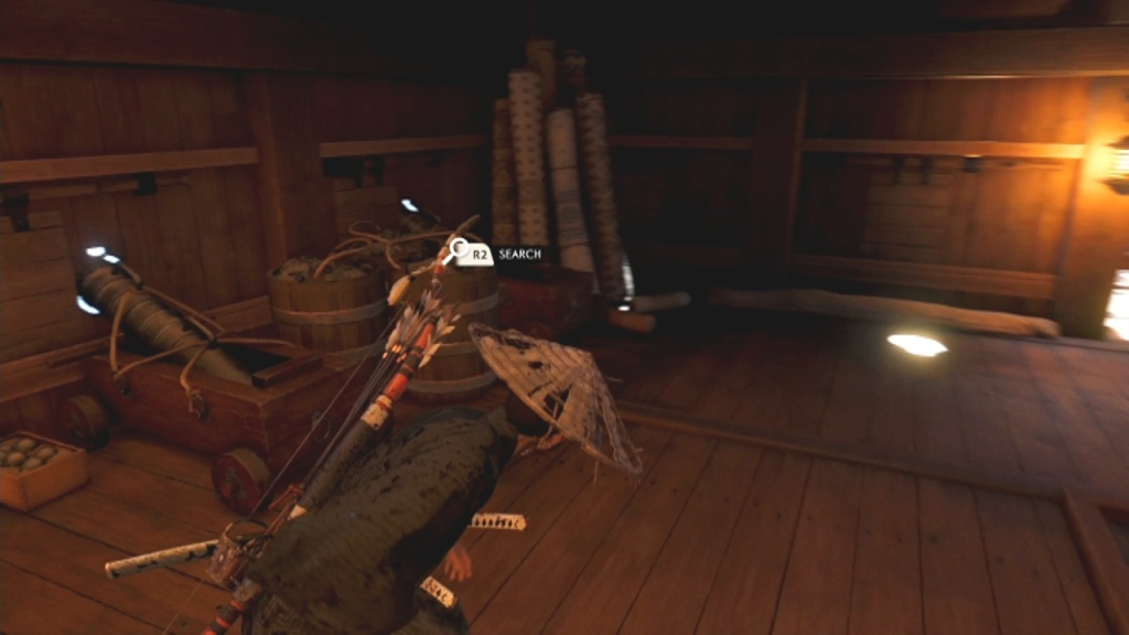 Search the barrels to the right of the entrance to Search the Ship for Food The Tale of Ryuzo Ghost of Tsushima