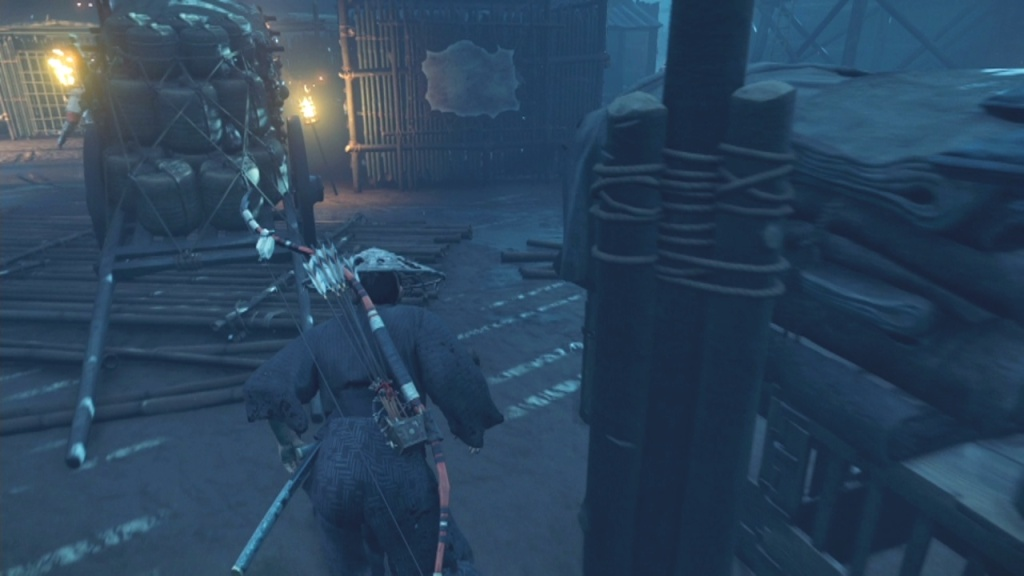 Go through the carts in the middle of the market to Find a Way through the Market The Broken Blacksmith Ghost of Tsushima